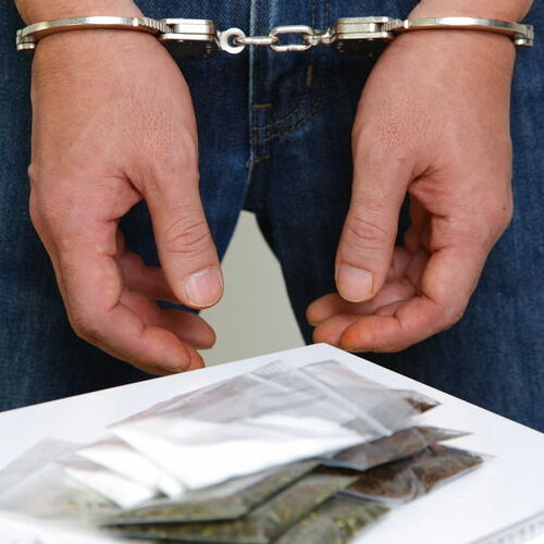 A Man Arrested on a Drug Charge.