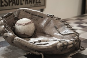 photo of baseball and glove