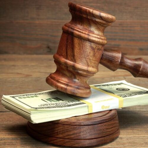 felony bail represented by gavel and money