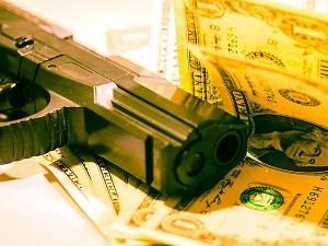 money and handgun